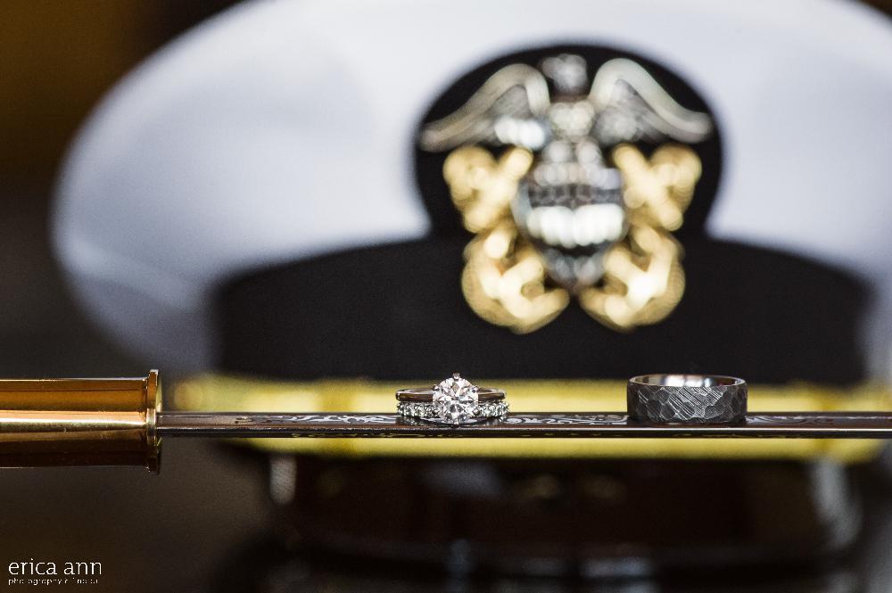 California navy wedding rings