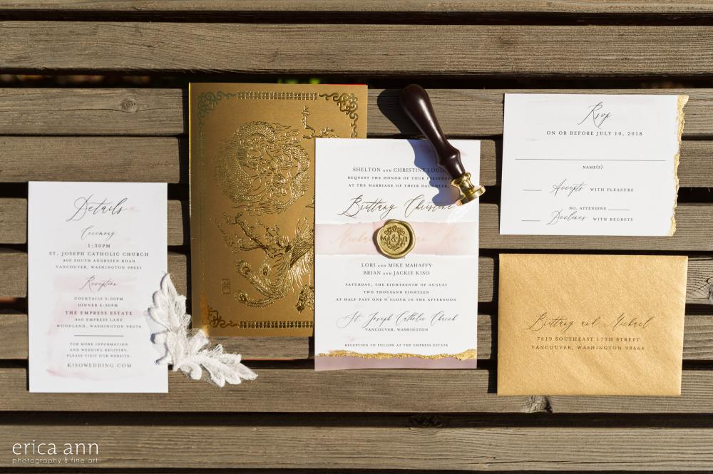 Gold and Blush Invitation Suite
