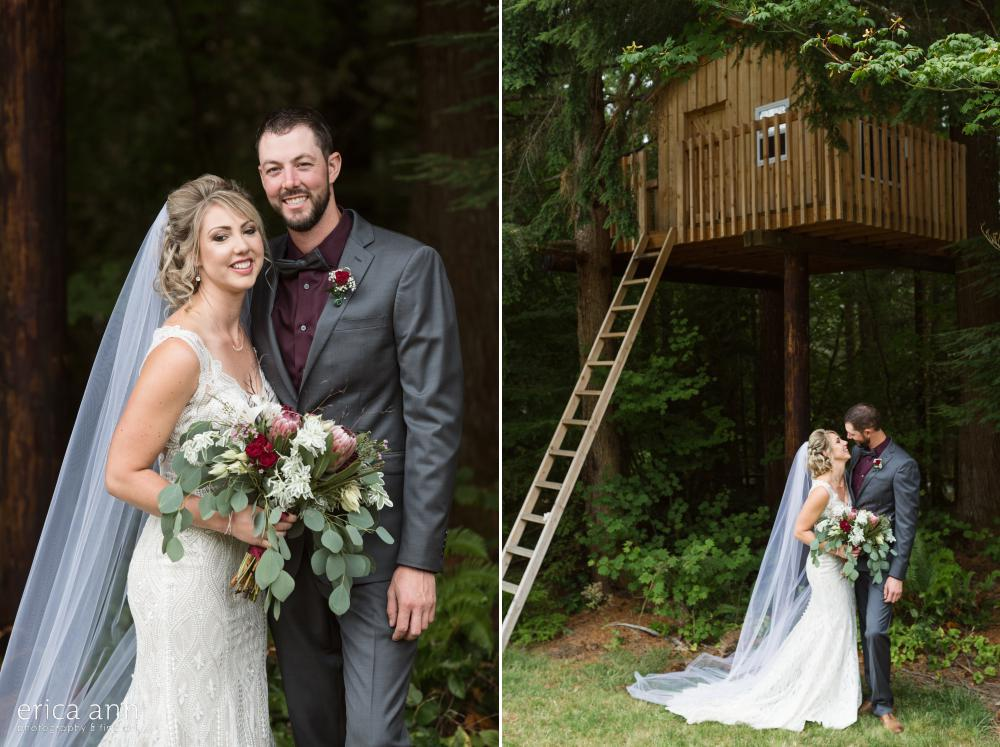 bride and groom treehouse