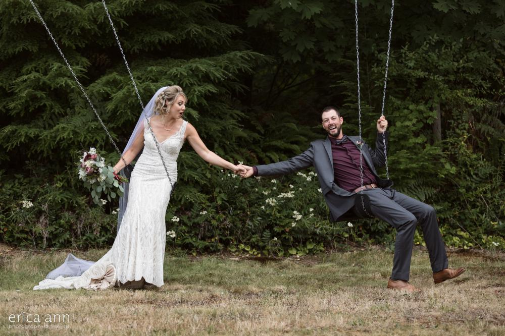 bride and groom swings