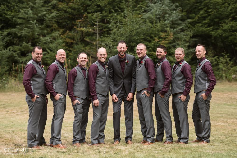 groomsmen merlot and gray suits