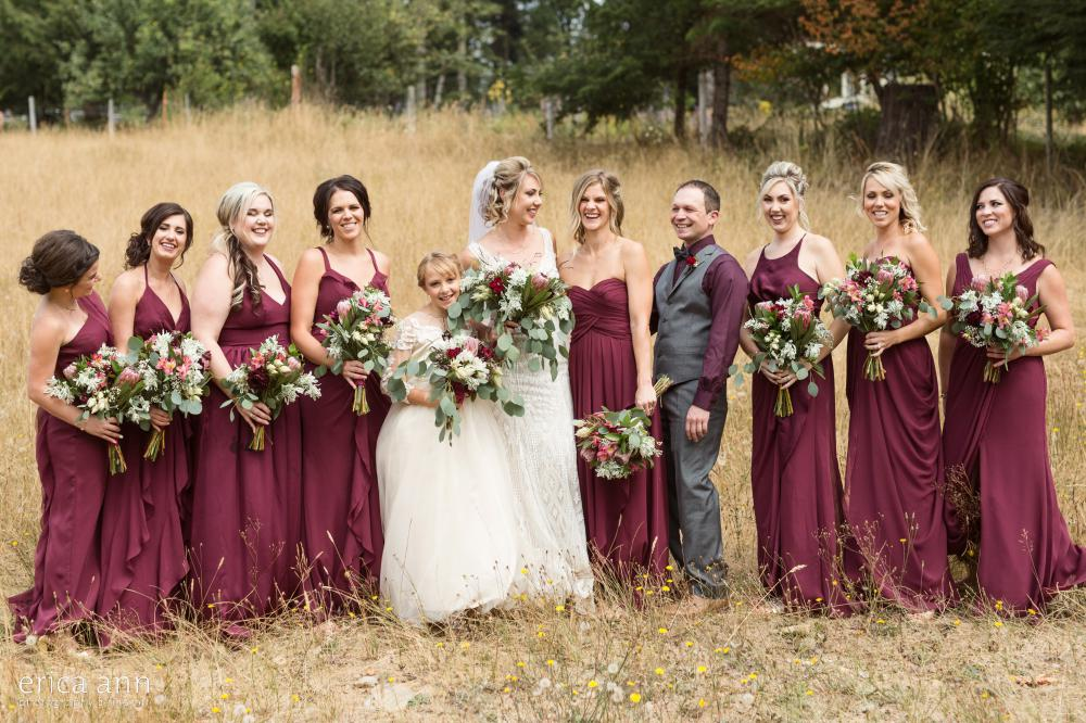 marroon bridesmaids dresses