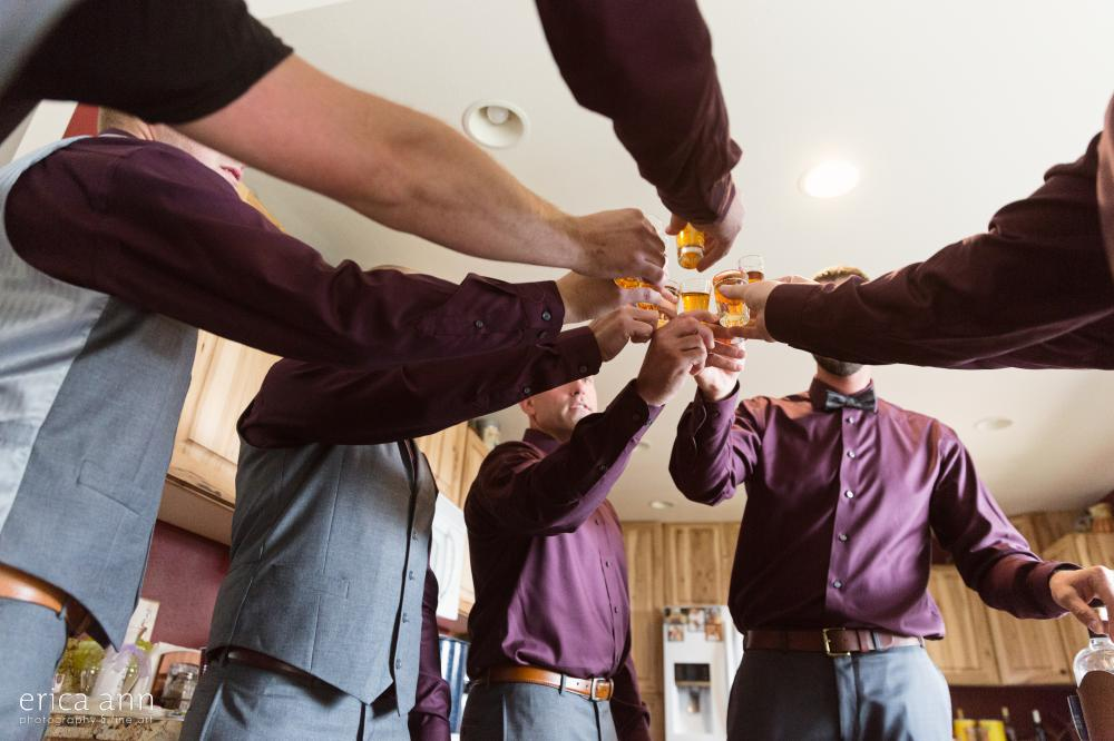 Groomsmen whiskey toast