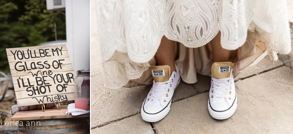 brides white and gold converse
